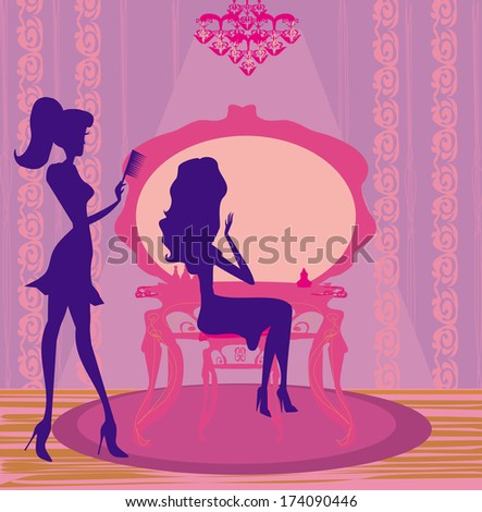 relax at the hairdresser  - stock vector