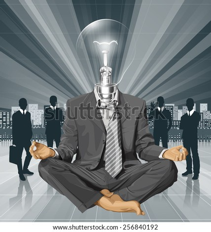 Relax concept. Vector lamp head businessman in lotus pose meditating - stock vector