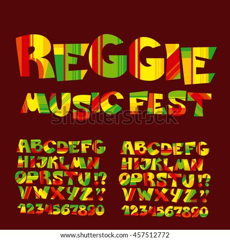 Relax Reggae Music Color Font Jamaica Style ABC Letters With Stripes And Patch Vector Illustration