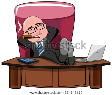Relaxed bald cartoon businessman boss smoking cigar and legs on the desk isolated