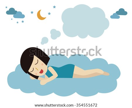 Relaxed young woman sleeping on the clouds. flat illustration isolated on white background