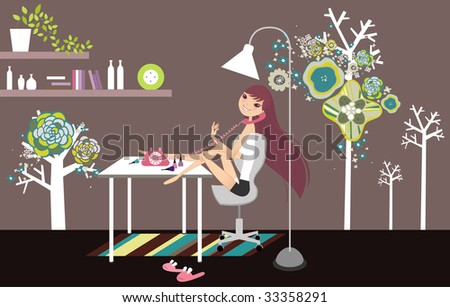 relaxing girl on a phone - stock vector