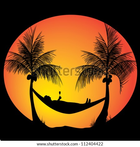 relaxing in the evening with a drink - stock vector