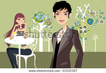 relaxing leisure girl and a guy - stock vector