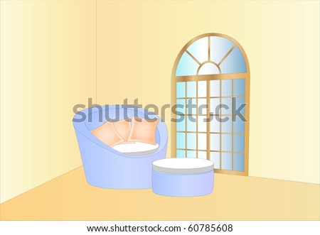 relaxing lounge and window ( background on separate layer ) - stock vector