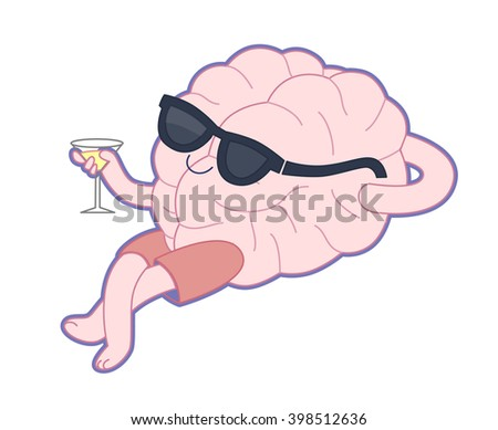 Relaxing with a glass of alcohol drink flat cartoon vector illustration - a brain lying with a glass of vermouth wearing shorts and sunglasses. Part of a Brain collection.