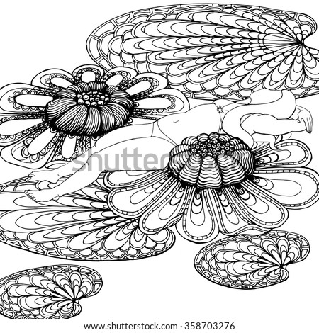 Relaxing woman lying on fantasy water lilies leaves, doodle pattern, zentangle vector design. - stock vector