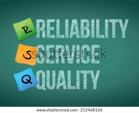 reliability service quality board post illustration design over board background - stock vector