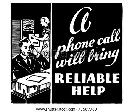 Reliable Help - Retro Ad Art Banner - stock vector