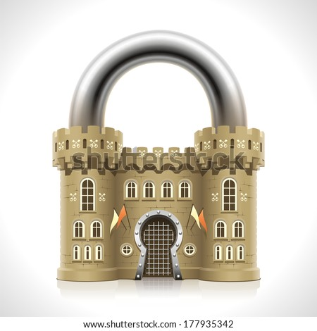 Reliable protection at home as thick walls of a medieval castle in the form of a padlock. - stock vector