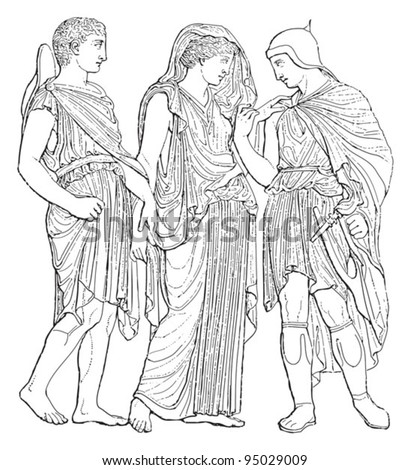Relief Hermes, Orpheus, and Eurydice / vintage illustration from Meyers Konversations-Lexikon 1897 - stock vector