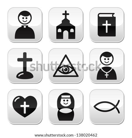 Religion, catholic church vector buttons set - stock vector