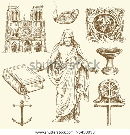 religion, christianity - hand drawn set - stock vector