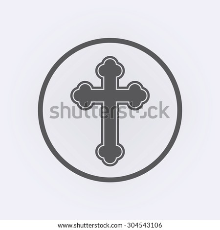 Religion cross icon in circle - stock vector