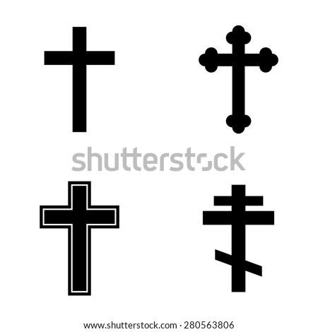 Religion cross icon set - stock vector