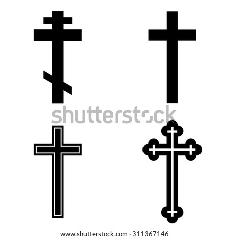 Religion cross icon set