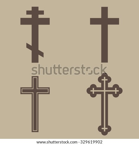 Religion cross icon set - stock vector