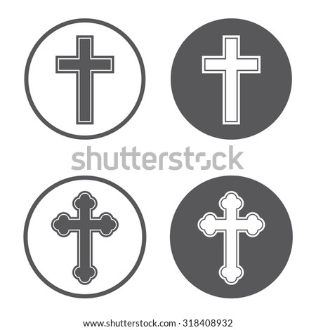 Religion cross icon set in circle  . Vector illustration