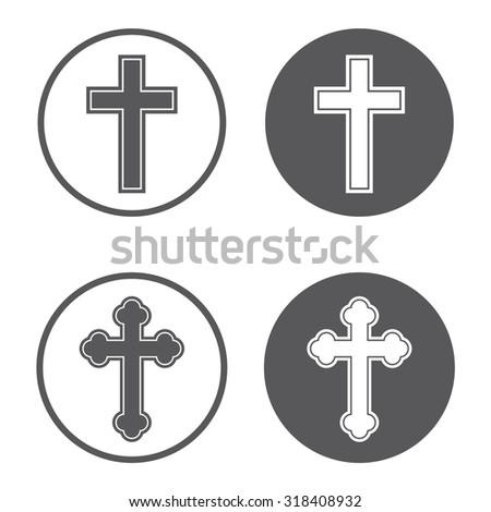 Religion cross icon set in circle  . Vector illustration - stock vector