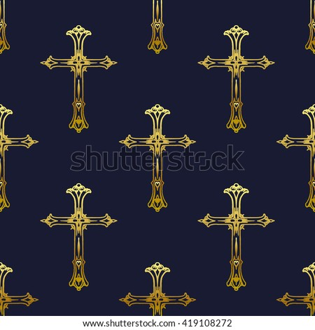 Religion gold cross icon. Vector stock illustration. Seamless black background with gold crosses pattern. - stock vector
