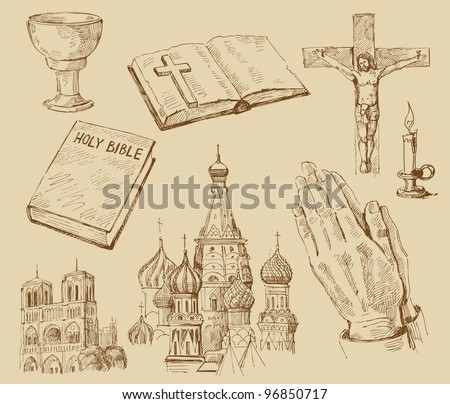 religion-hand drawn collection - stock vector