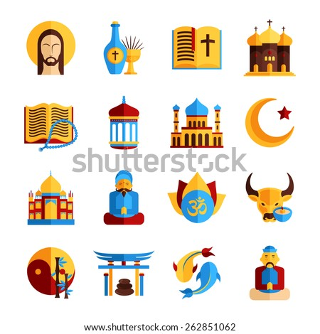 Religion icon set with christian islamic and oriental symbols isolated vector illustration