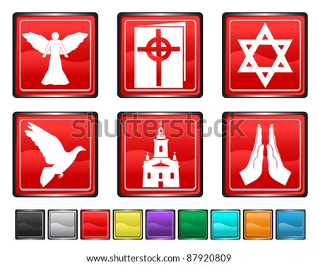 religion icons,each color icon is set on a different layer - stock vector