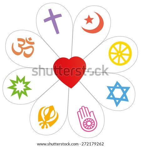 Religion symbols that form a flower with a heart as a symbol for religious unity or commonness - Islam, Buddhism, Judaism, Jainism, Sikhism, Bahai, Hinduism, Christianity. Isolated vector over white. - stock vector