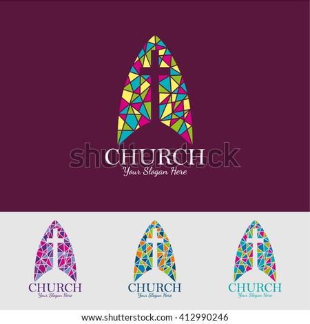 religion vector logo design template. crucifixion or Church icon. - stock vector