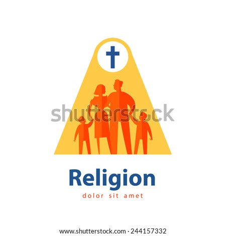 religion vector logo design template. people or family icon. - stock vector