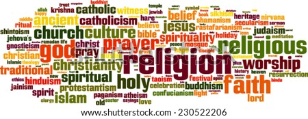 Religion word cloud concept. Vector illustration - stock vector