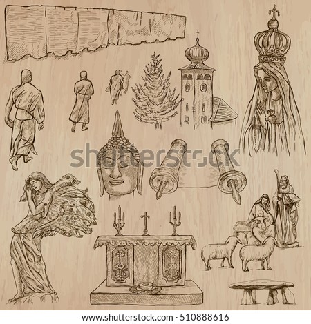 Religions around the World, Vector pack, set. Collection of an hand drawn illustrations. Each drawing comprises a few layers of outlines, the colored background is isolated. Hand drawing.