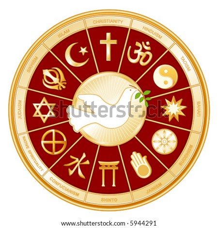 Religions, Faiths of the world, Dove of Peace, gold wheel icons: Buddhism, Islam, Hindu, Taoism, Christianity, Sikh, Native Spirituality, Confucianism, Shinto, Baha'i, Jain, Judaism.  EPS8 compatible.