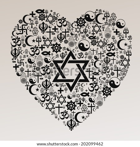 Religions Heart Shape - Judaism - stock vector