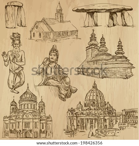 Religious around the World (vector pack no.2). Collection of an hand drawn illustrations (originals). Each drawing comprises of two layers of outlines, the colored background is isolated. - stock vector