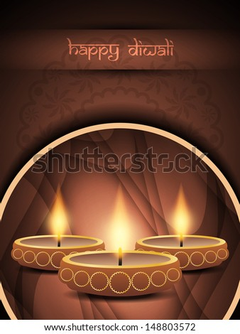 religious brown color background design for diwali festival with beautiful lamps in rounded frame.