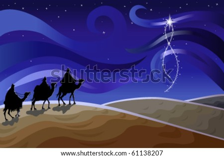 Religious Christmas card with the Three Wise Men. Vector illustration saved as EPS AI 8, simple gradients, no effects, easy printing.