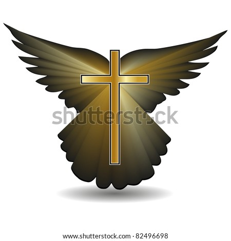 Religious cross against the background of the wings.Vector - stock vector