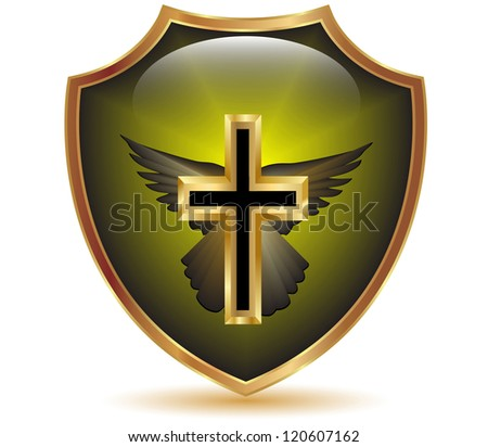 Religious cross shield.Vector - stock vector