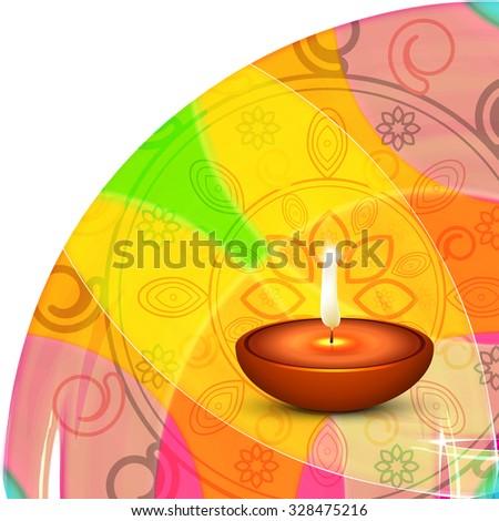 Religious Diwali festival card design for with colorful rangoli vector  - stock vector
