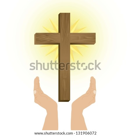 Religious Illustration, Cross of Our Lord Jesus Christ, vector illustration - stock vector