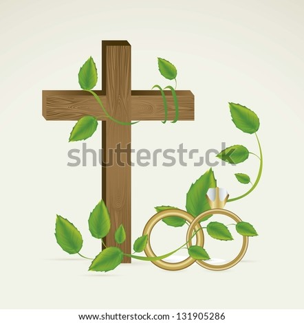 Religious Illustration of Wedding and engagement rings, vector illustration - stock vector
