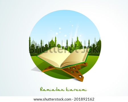 Religious Islamic book Quran Shareef with green silhouette of mosque on nature background for holy month of muslim community Ramadan Kareem.  - stock vector