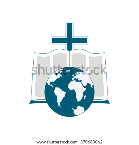 Religious logo symbolizes the Bible reading around the world. The image of the globe, the Bible, the cross as icons. - stock vector