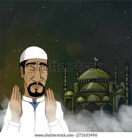 Religious Muslim man praying Namaz (Islamic Prayer) on mosque decorated background for holy month of prayers, Ramadan Kareem celebration. - stock vector