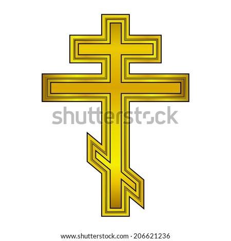 Religious orthodox gold cross icon on white background. Vector illustration. - stock vector