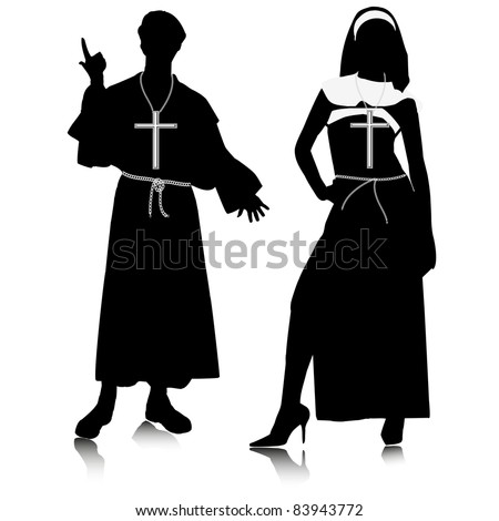 Religious people silhouettes.Vector - stock vector
