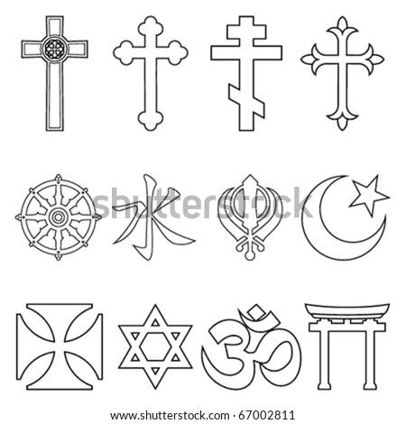 Religious symbols. - stock vector