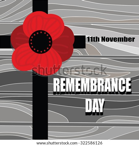 Remembrance Day - Cross with Poppy flower silhouette on wooden desk. November  holiday. Poppy Day illustration. Armistice Day vector background.For memorial day.Vintage.