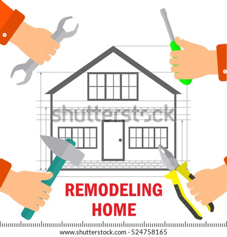 remodeling home renovation and technology concept mens hands hold tools for repairs stock
